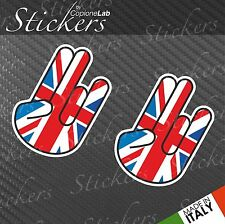 2 adesivi auto moto JDM sticker bomb Shocker hand Uk England flag small