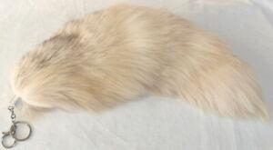 Fur Pendant fuchs Platinfuchs Fur Tail Key Bag Natural Cream Grey