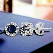 2.00Ct Round Cut Blue Sapphire Diamond Butterfly Stud Earrings 14K White Gold FN