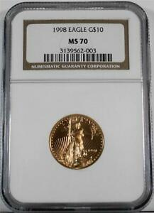 1998 $10 1/4 Ounce Mint State Business Strike American Gold Eagle NGC MS 70