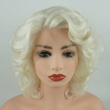Meiyite Hair Wavy Short 10inch Light Blonde White Mix Synthetic Lace Front Wig