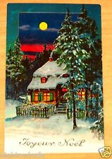 rare Hold To Light Postcard Joyeux Noël Merry Christmas Cottage Pines Full Moon