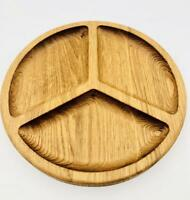"""Wooden Round Serving Plate Tray Wood Serving Dishes Food 3 Sectional Nut 11"""" L"""