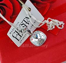 STERLING SILVER* CHAIN NECKLACE WITH SWAROVSKI Elements FANCY SQUARE CRYSTAL10mm