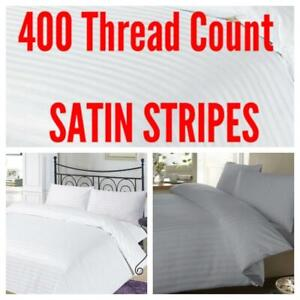 400TC SATIN STRIPE 100% Egyptian Cotton Duvet Quilt Cover Bedding Set+PillowCase