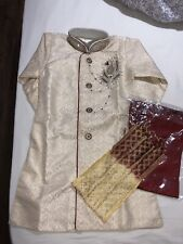 Boys Shalwar Kameez Suit 6 Years Old Gold Cream