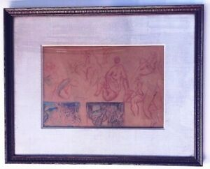 "Lorser Feitelson Signed 1923 Sheet Preliminary Drawings for ""Bathers"" Painting"