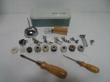 NEW HOME SEWING MACHINE TOOL & ACCESSORIES KIT IN METAL STORAGE BOX