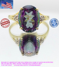 SOLID 10KT Yellow Gold 3.6CT Natural Mystic Topaz&Diamonds Ring W/Gift Box Women