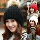 Fashion Women Crochet Beret Beanie Ball Hat Knitted Wool Hat Warm Winter Ski Cap