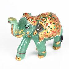 Green Jade Elephant Statue 304.7 Gram Wealth Lucky Figurine Home Decor DB-475