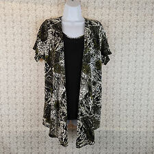 Womens Dressbarn SS Drape Cardigan Style Shirt Top Black White Green Size Large