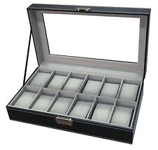 12 Slot Mens Large Watch Box Black Pu Leather Display Glass Top Jewelry Case New