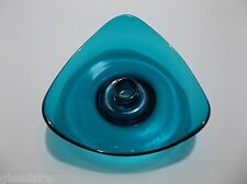 Vintage Viking Art Glass EPIC Candle Holder BLUENIQUE Triangle BLUE 6""