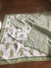 Pottery Barn Green Paisley Reversible Quilt Shams Lumbar Queen