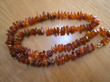 """Large Translucent Brown Honey Amber Chunk Bead Necklace 33""""  69g GF Clasp"""
