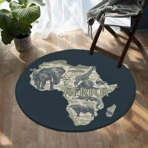 African Map Safari Animal Elephant Bird Round Rug Carpet Mat Living Room Bedroom
