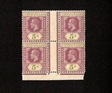 GILBERT AND ELLICE ISLANDS 1912 NH slightly toned SCOTT# 20 GUTTER BLOCK