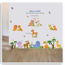 BABY ZOO ANIMALI ADESIVI DA PARETE GIUNGLA Vivaio Baby camera dei bambini decalcomania Art