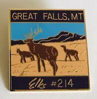 Great Falls Montana Elks #214 Club Souvenir Pin Badge Rare Vintage (C1)