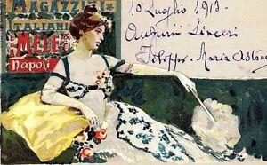 PUBBLICITARIA MAGAZZINI MELE NAPOLI Illustratore DE SANTIS PC viaggiata 1913