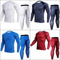 Men's Sports Apparel Running Gym Compression Base Long Sleeve Shirt Pants Set