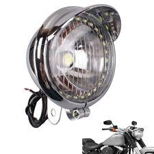Motorcycle Chrome 27 LED Angel Eye Headlight Lamp For Bobber Chopper Cruiser 12V
