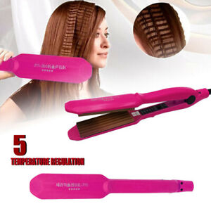 Salon Ceramic Titanium Hair Crimper Crimping Perm Slipnt Waver Curler Wet/Dry UK