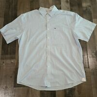 Lacoste Regular Fit Mens 44 Button Down Long Sleeve Dress Shirt Blue White Check