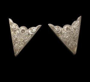 """Vintage McCabe Engraved Sterling Silver 2"""" Shirt Collar Tips Cowboy Trophy Belt"""