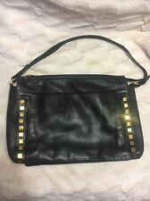 Gianni Versace Black Leather Shoulder Purse Handbag Gold Hardware Vintage EUC