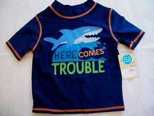CARTER'S BLUE SHARK RASH GUARD 12 MONTHS BOYS NWT