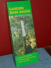 "Garden Rain Gauge New 36"" Metal Scroll Plastic Rain Water Holder Measures 4"""