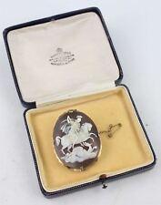 Llamativa Vintage St. George y el Dragón Broche Camafeo, En Caja