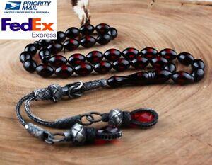 İslamic silver zaza Prayer 33 Beads, SPECIAL Amber tesbih , .very high quality.