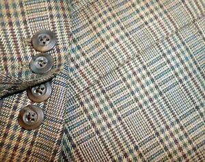 CUSTOM MADE mens sport coat BEIGE BROWN BLUE GLEN PLAID 52L 52 e62 - MINT