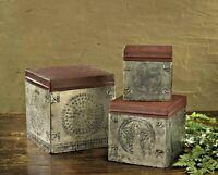 Primitive Antique Style Punched Tin Decorative Boxes Set 3 Farmhouse FREE SHIP