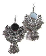 Indian Earring Bollywood Oxidized Traditional Silver Jhumka Mirror Women Jewelry