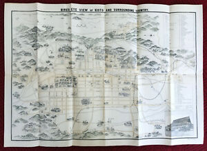 Bird's Eye View Map of Kyoto and Surrounding Country [Meiji Era/Kioto 1895-1905]