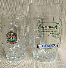 2 GERMAN Glass Beer Mugs by FI.VE of ITALY - DAB / ARMBRUSTER / GEFAKO