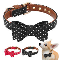Bow Tie Dog Collar Small Medium Soft Leather Padded for Pet Puppy Cat Red Black