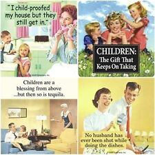 RETRO COASTERS 4 Pack Incl. I Child-Proofed My House But They Still Get In NEW