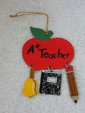 Metal A+ Teacher Christmas Ornament With Bell, Book & Pencil Charms