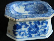 Antiguo Porcelana de exportación 18th C Qianlong Chino Tazón de fuente de sal de mesa Trencher