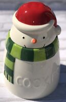 Hallmark Snowman Christmas Holiday Cookie Jar Red Santa Hat Ceramic 2015 EUC