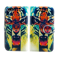 Flip Wallet Leather Cover Case for Apple iPhone Models Screen Protector Roaring Tiger I Phone 5 5s