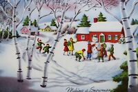 Vintage Norcross Mid Century Christmas Card- Making Snowman-Children Playing