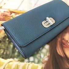 Michael Kors Sullivan Denim Blue Leather Lg Carryall Envelope Flap Wallet NWT