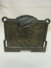 Antique Metal Extended Book Rack Indiana Head Design No. 9964 Vg Condition
