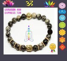 Bracelet perles de  Jaspe Araignée  Yoga  Reiki Protection bouddha Argenté U11